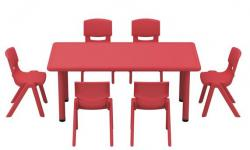 Table 120x60 + 6 chaises Rouges