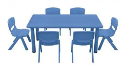 Table 120x60 + 6 chaises Bleues