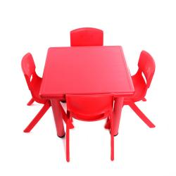 Table 60x60 + 4 chaises Rouges