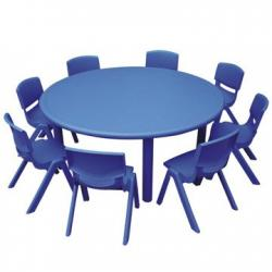 Table ronde + 8 chaises Bleues